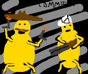 Pair of squash with guns fight communism.