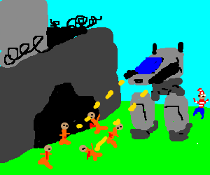 Mech guns down escaping prisoners. Waldo escapes