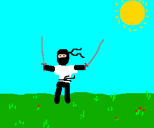 man in white shirt has two swords