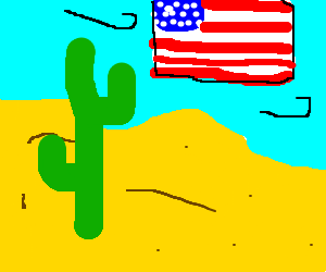 The american flag hovers over the desert.