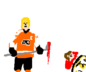 hockey player carrying a bloody hockey stick