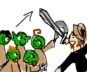 Adventurer fights off a party of goblins