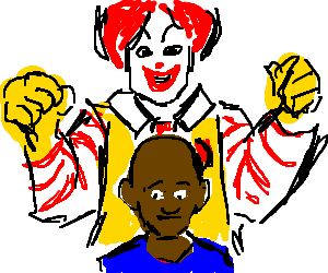 Ronald McD about to mollest a black boy