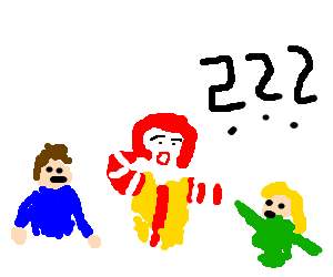 confused ronald mcdonald with two friends