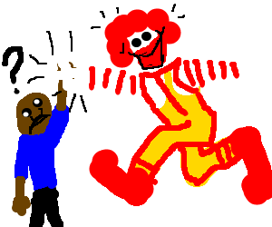 Ronald McDonaldhigh fives child;confused astowhy