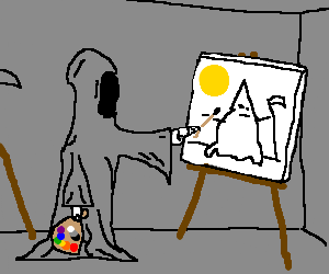 Death fails at his autoportrait