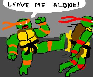 Michelangelo telling Rafael to go away.