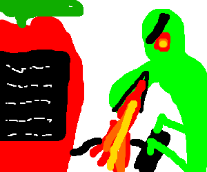 Fire-breathing dragon uses Apple computer.