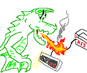 Dragon breaths fire on NES controller wire.
