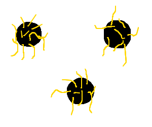 Three yellow-haired black dots