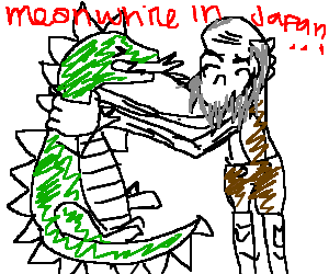 Giant elderly man strangling Godzilla.