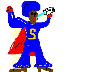 Black superhero with blue cape enjoys soda