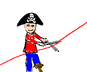 red-eyed pirate fights cuts the red wire