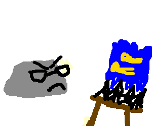 gray hipster rock is a harsh art critic