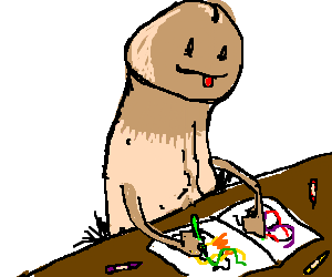 a penis at his desk drawing in his coloring book - Penis Coloring Book