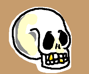 Skull has two gold teeth