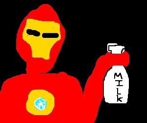Tony stark w/ milk Bottle