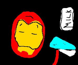 Iron Man drinking milk