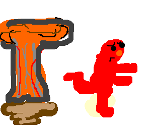 Elmo runs from Nuclear attack