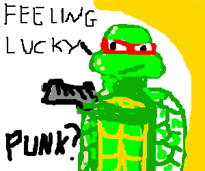 Raphael with a pistol