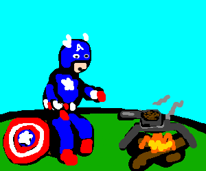 CPT America cooking beans on a camp fire