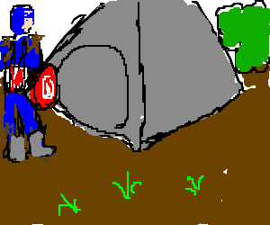Captain America goes camping