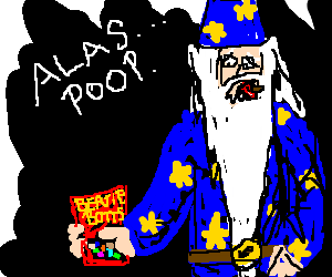 Dumbledore eats a poop flavoured jelly-bean.