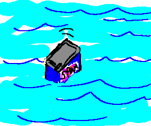 A tin of spam floating