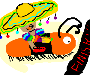 Mexican in rainbow top rides caterpillar 2 win