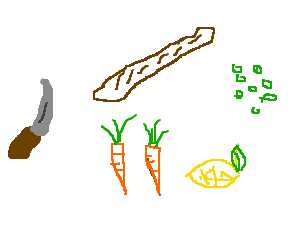 knife, bread, carrot, carrot, lemon and 8 beans