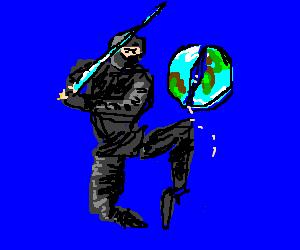 ninja is splitting the world with his katana