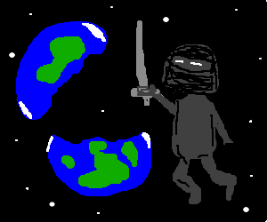 ninja slices earth in half