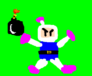 Bomberman with a bomb ready to go off.