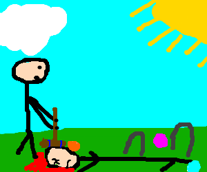 Man playing croquet on his dead friend's head