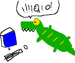 Crocodile angry because they pc are broken