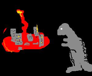 Godzilla reflects on lava-filled city.