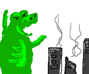 dinossaur laughs about destroyed city