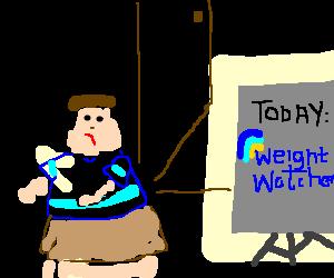 Fatty flees WeightWatchers meeting