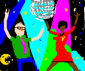 M.C. Frontalot and Uhura have a dance party