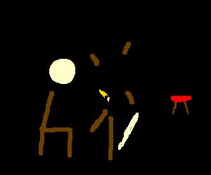 a stick figure drawing a stick figure