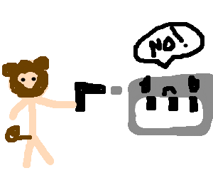 Man/Monkey kills electronic keyboard