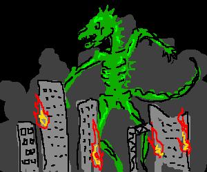 Anorexic Godzilla attacks city!