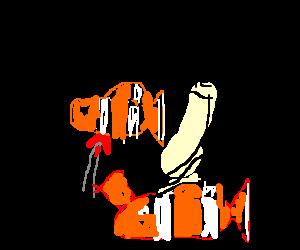 A clownfish stabbing Nemo with a thumbtack