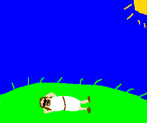 cool jesus is relaxing on the grass