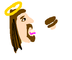 Jesus eating an Oreo