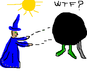 "Wizard casts a ""nighty"" spell"