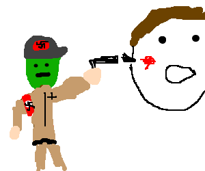 Green-faced Nazi shoots giant white head