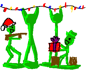 army men are excited that its christmas