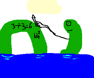 loch ness monster doing maths on its back