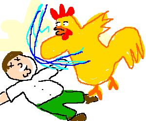 Peter Griffin KO against the big Chicken